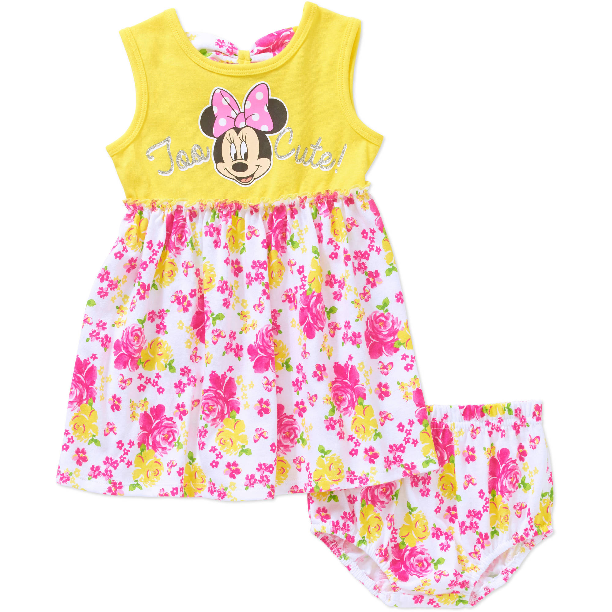 Minnie Mouse Newborn Baby Girl License Tank Top Dress with Diaper Cover 2 Piece Set