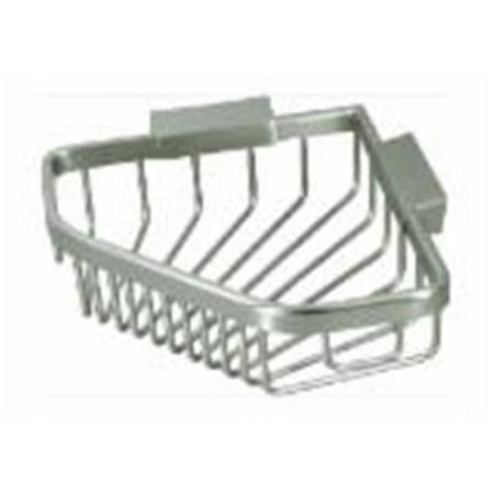 6 in. Solid Brass Pentagon Wire Corner Shower Basket, Satin Nickel