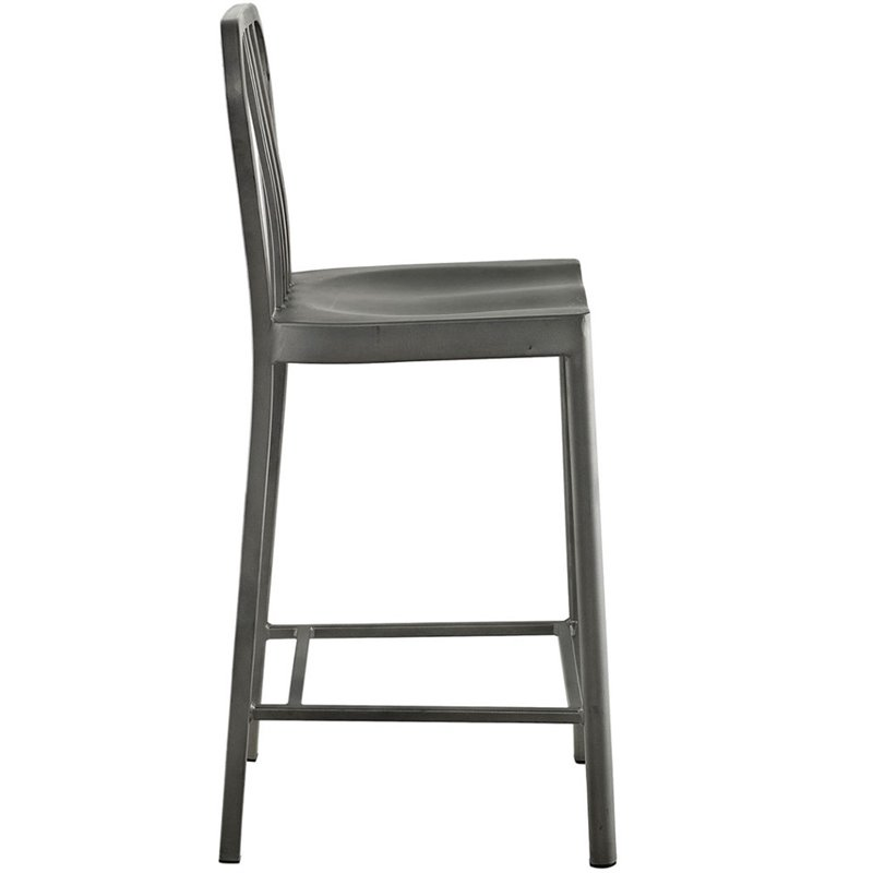 "Hawthorne Collections 26"" Metal Counter Stool in Silver - image 3 of 4"