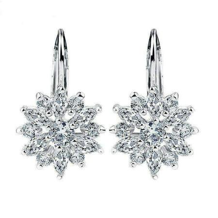 ON SALE - Brilliant Austrian Crystal Flower Earrings Brilliant Crystal Jewelry