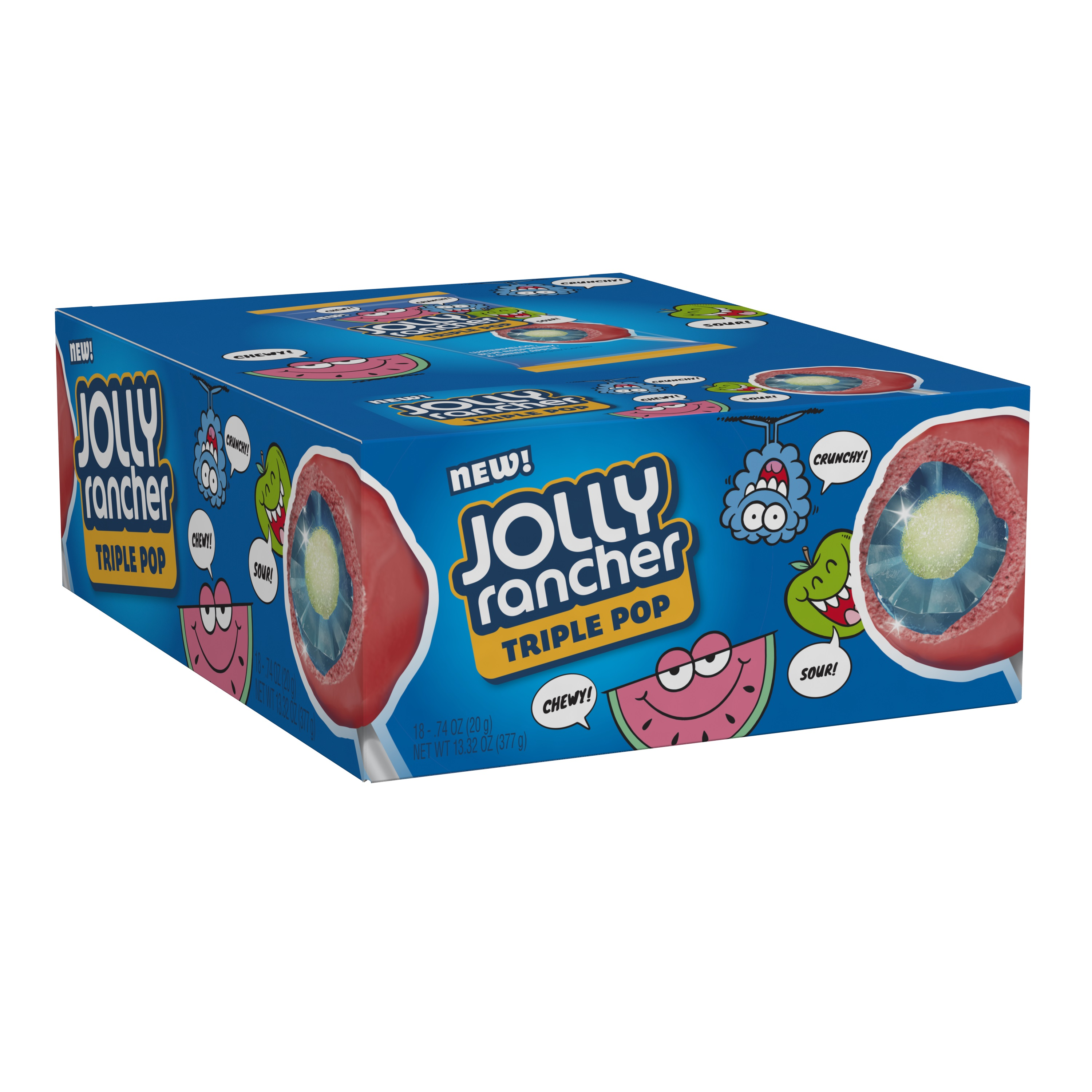 Jolly Rancher, Triple Pop Lollipops, 0.74 Oz, 18 Ct