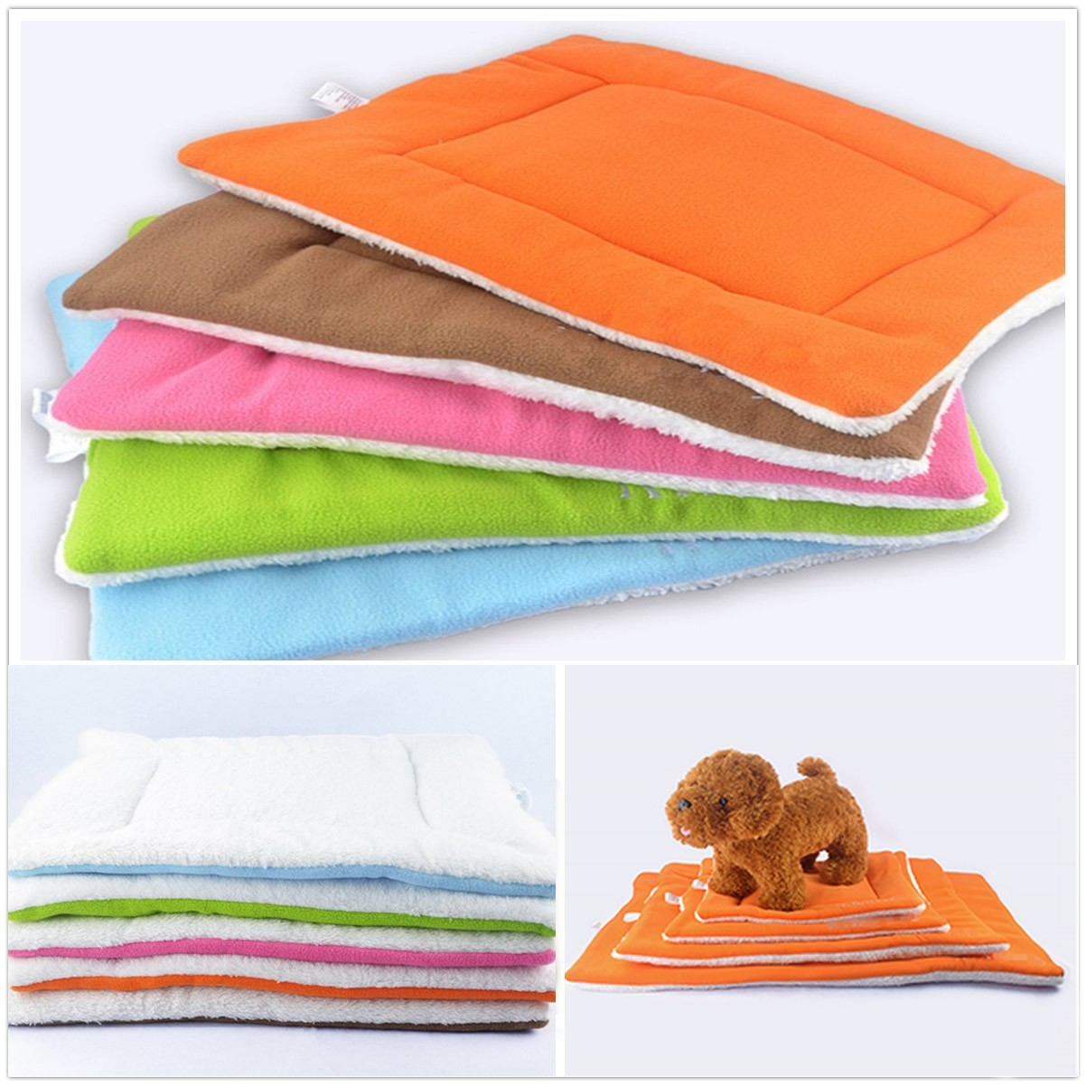 1-Pack Dog Cat Pet Beds Washable Soft Comfortable Warm Bed Mat Padding House Sleep Crate Fleece Kennel Cushion Pet Blanket Bed