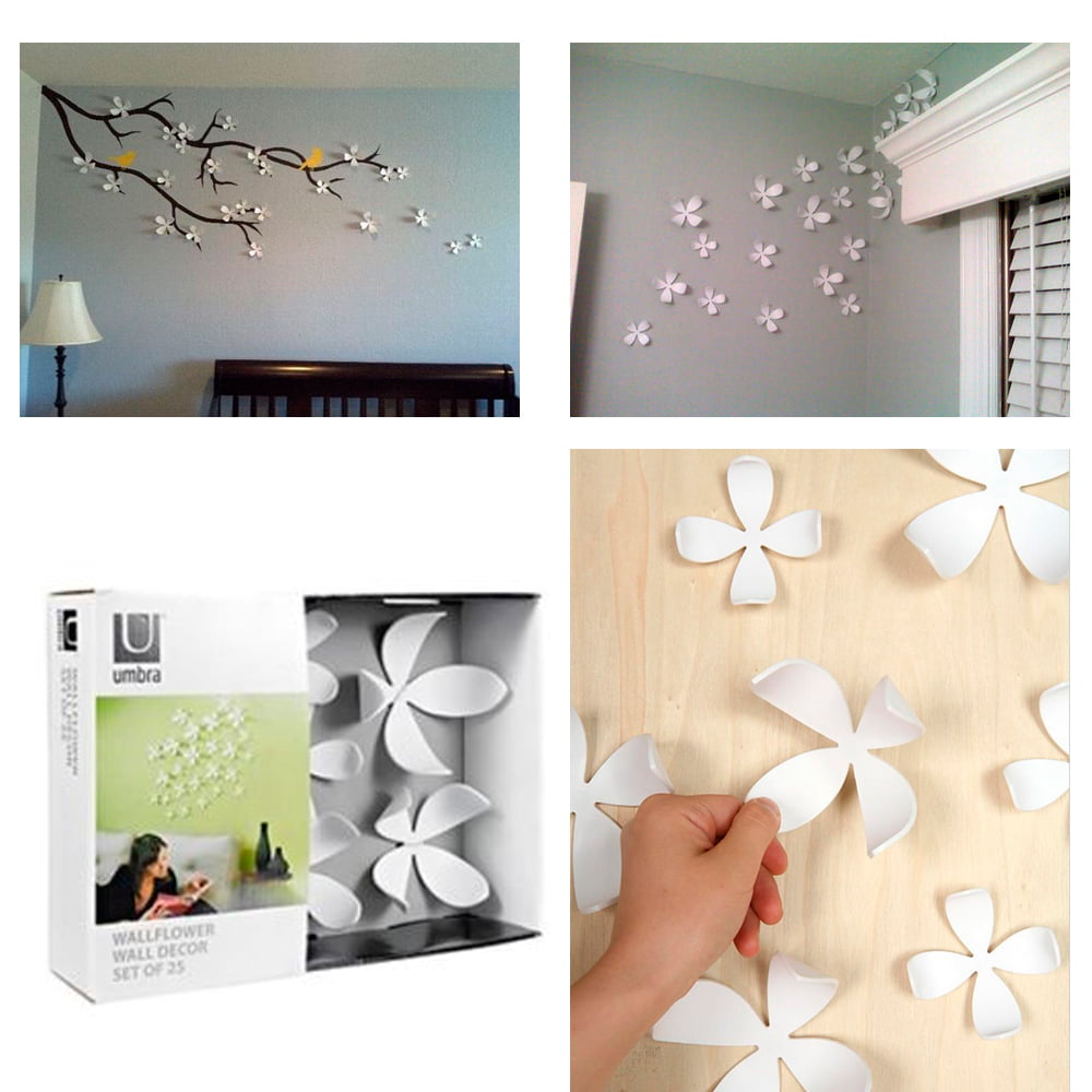 Umbra Wallflower Wall Decor 25 Flowers White Diy Nature Art Home Room  Design New   Walmart.com