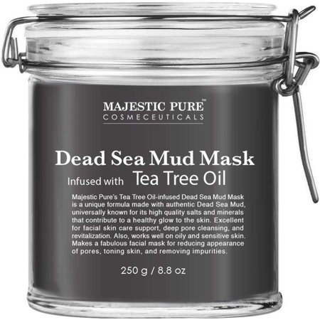 MAJESTIC PURE Dead Sea Mud Mask Infused With Tea Tree Oil - Supports Acne Prone and Oily Skin, for Women and Men - Fights Whitehead and Blackhead - Helps Reduce the Appearances of Scars
