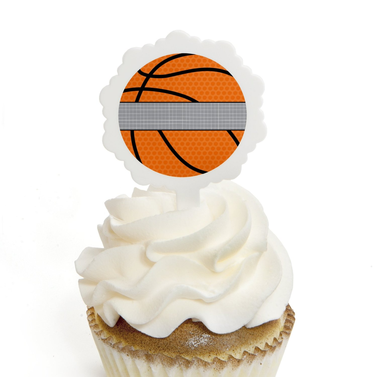 Nothin' But Net - Basketball - Cupcake Picks with Stickers - Baby Shower or Birthday Party Cupcake Toppers - 12 Count
