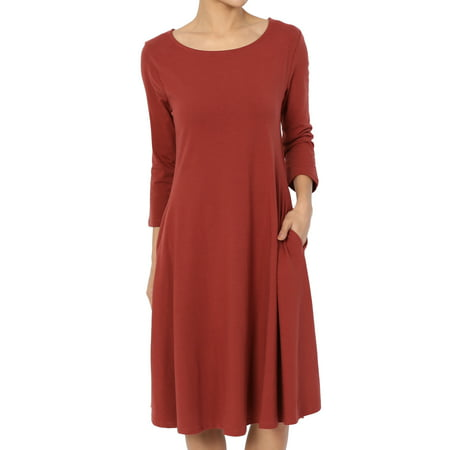 TheMogan Women's 3/4 Sleeve Stretch Cotton Jersey Fit and Flare Dress W Pocket