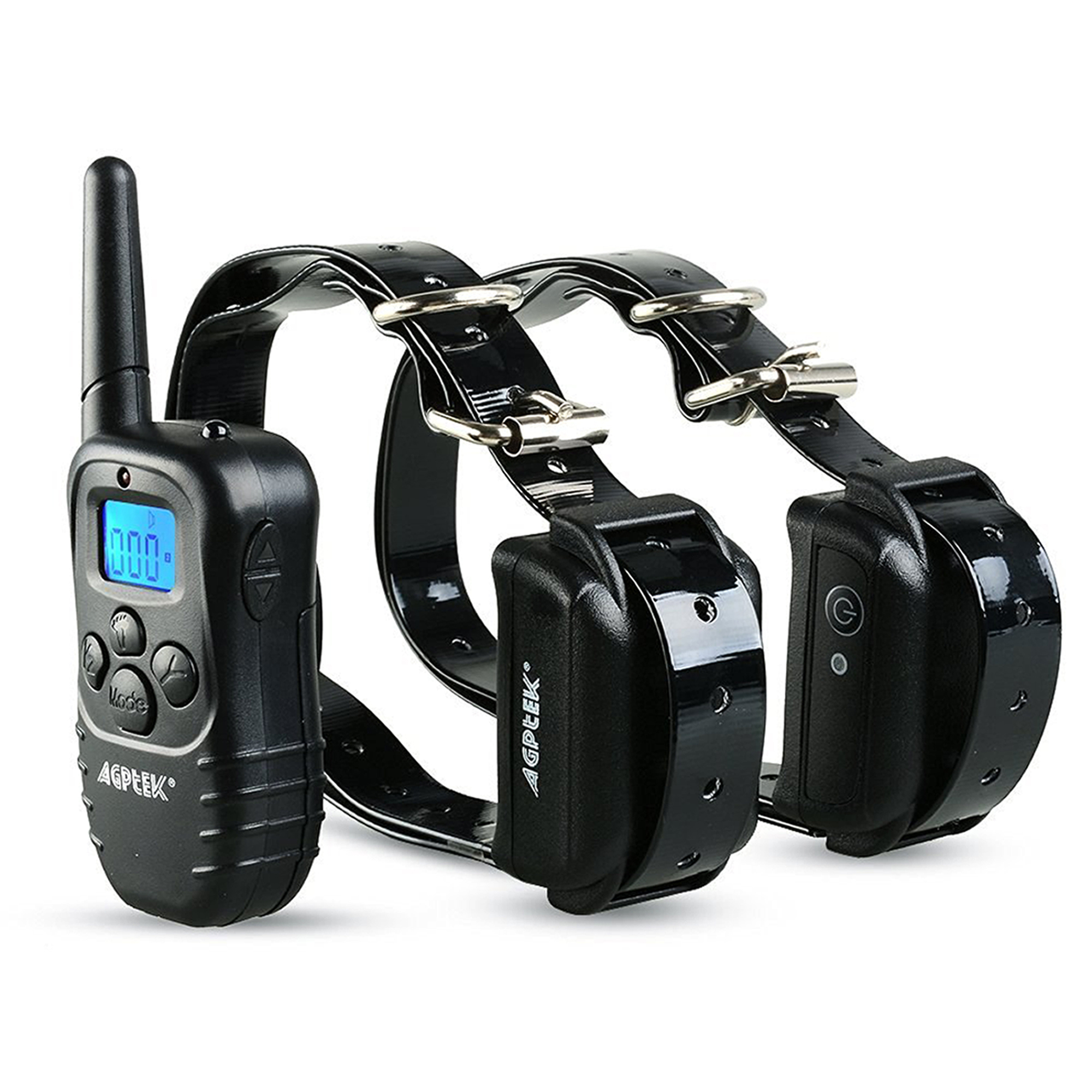AGPtek Reable Waterproof 2 Dog Training Collar 100 Level Shock Vibra LCD Remote