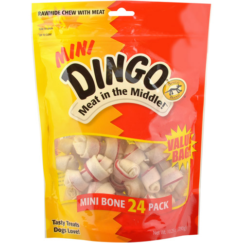 Dingo Mini Rawhide Chews with Meat for Dogs, 24 count