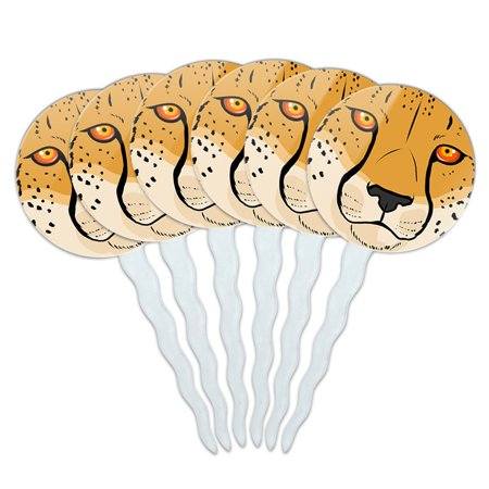 Cheetah Face Safari Cupcake Picks Toppers - Set of 6 (Cheetah Cake Inside)