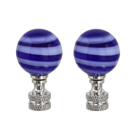Aspen Creative 24013-12, 2 Pack Blue & White Glass Ball Lamp Finial in Nickel Finish, 2