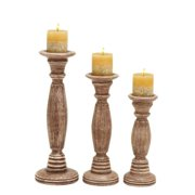 Studio 350 Wooden Candle Holder In Brownish Rustic Finish - (Set Of 3)