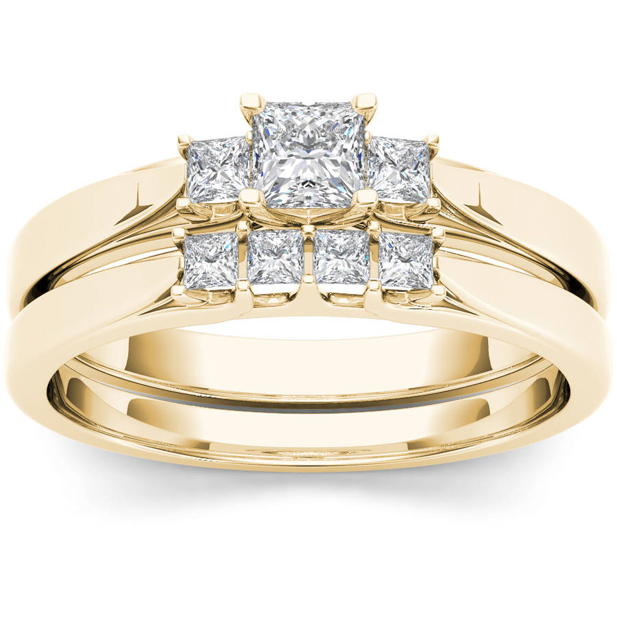 Imperial 1 2 Carat T.W. Diamond Three-Stone 14kt Yellow Gold Engagement Ring Set by Imperial Jewels