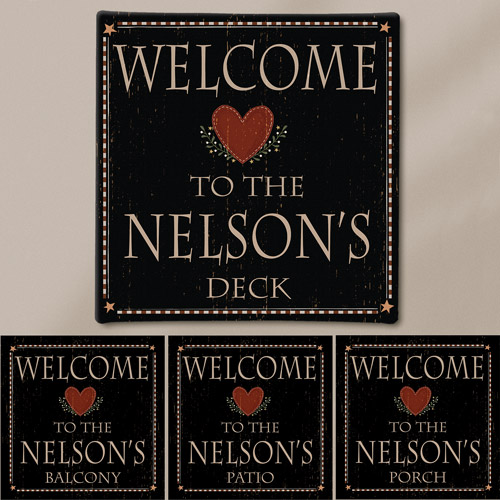 "Personalized ""Welcome"" Canvas, 11"" x 11"""