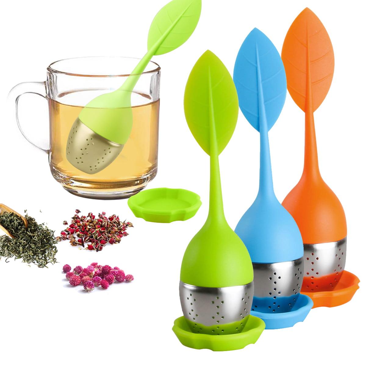 Leaf Tea Infuser Loose Tea Strainer Steeper for Fennel Tea Rooibos Tea Herbal Tea Filter for Tea Pot, Mug, Bottle Green Blue Orange Set 3