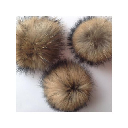 New Brown Faux Fur Pom Bobble With Press Stud Handmade Pompom For Hats Caps