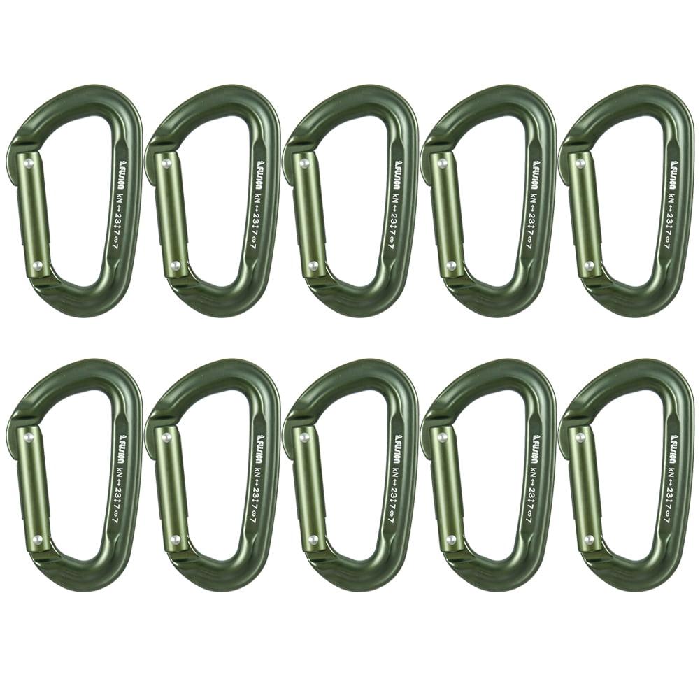 Fusion Climb Contigua Military Tactical Edition Straight Gate Aluminum Carabiner Foliage Green 10-Pack