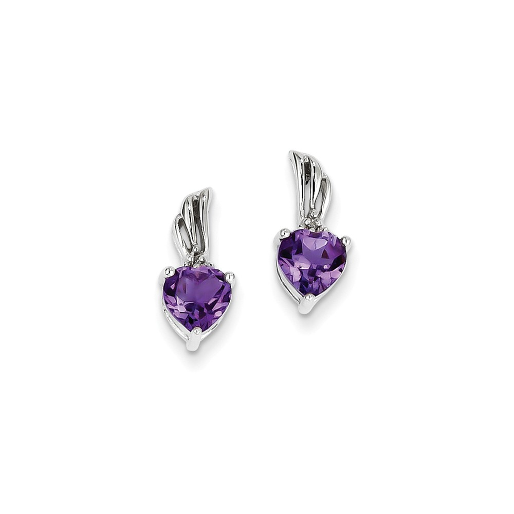 Sterling Silver 0.5IN Long Rhodium Plated Diamond and Amethyst Post Earrings