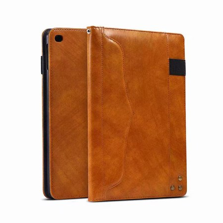 Dteck iPad 9.7 Case 2018 iPad 6th Generation Case/2017 iPad 5th Generation Case/iPad Air 2 Case/iPad Air 1st Gen Case, Leather Multifunction Business Wallet Case Cover, Brown ()