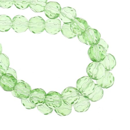 Sexy Sparkles 1 Strand, Light Green Round Faceted Crystal Glass Loose Beads
