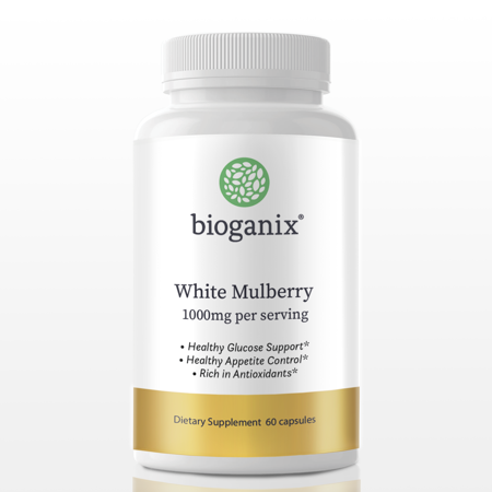 BioGanix White Mulberry Leaf Extract, Supports Healthy Glucose and Appetite Control, Blood Sugar Support Supplement, 1000mg, 60 Capsules