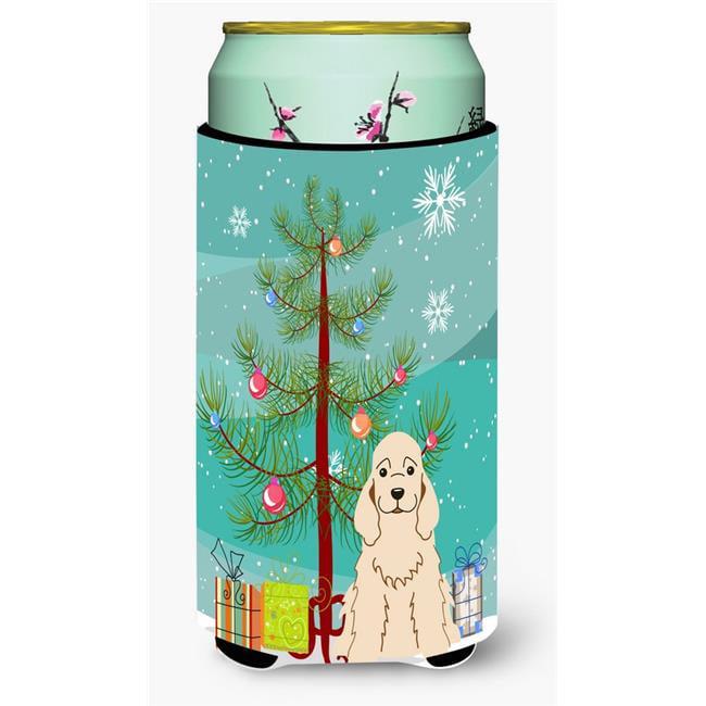 Merry Christmas Tree Cocker Spaniel Buff Tall Boy Beverage Insulator Hugger - image 1 de 1