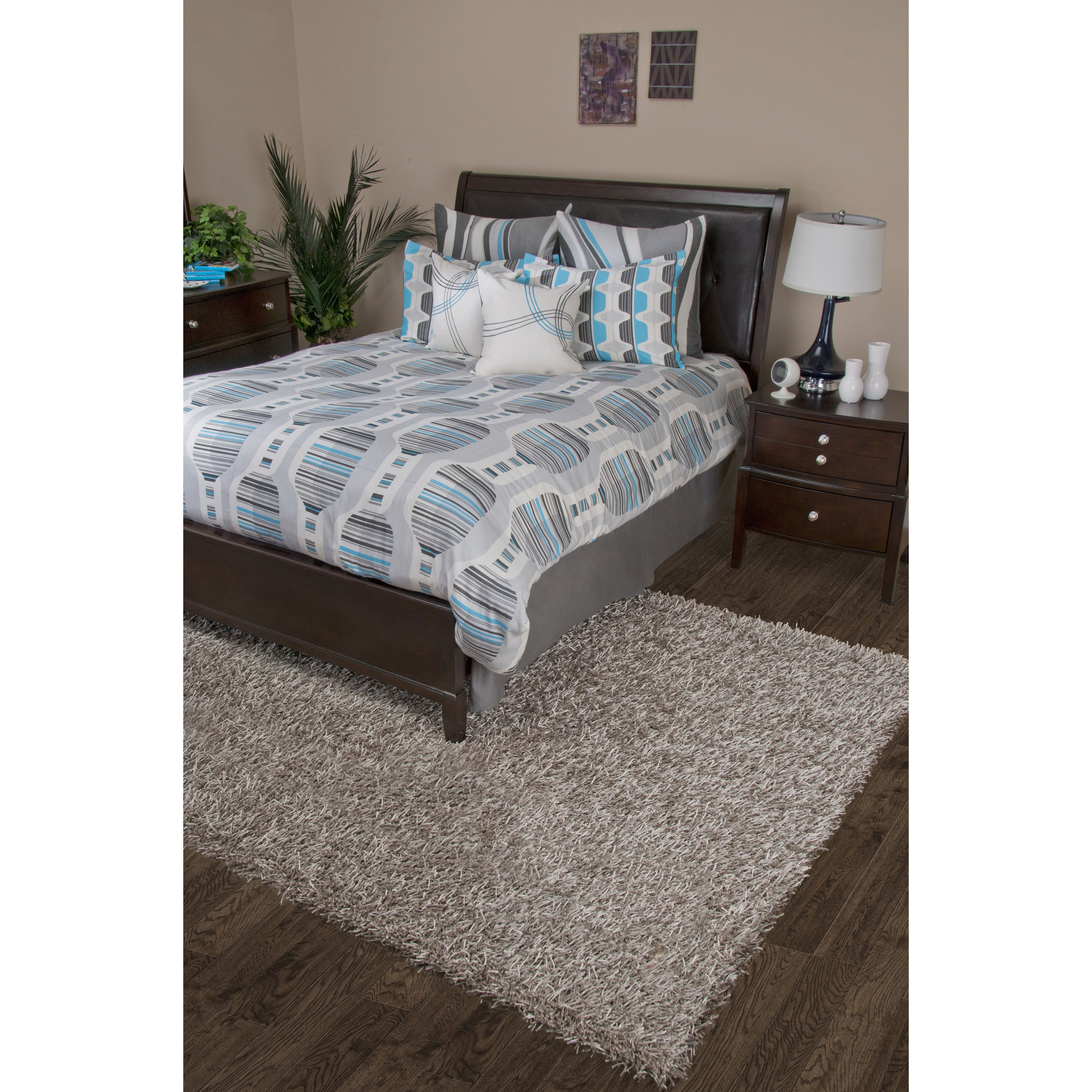 Rizzy Home Motion Gray Comforter Bed Set - California King