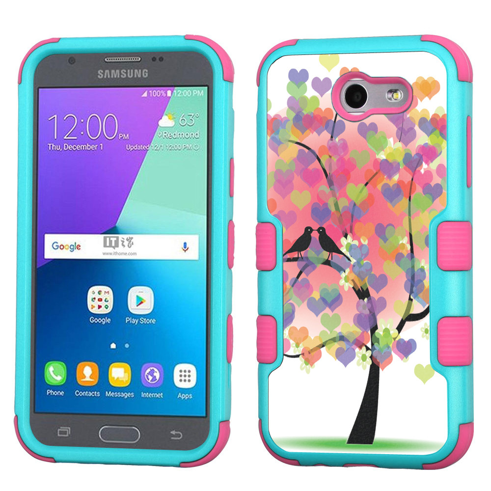 ShockProof Case for Samsung Galaxy J3 Luna Pro 4G LTE / J3 Eclipse / J3 Emerge / J3 Prime, OneToughShield ® 3-Layer Hybrid Protector Phone Case (Teal/Pink) - Color Hearts Tree