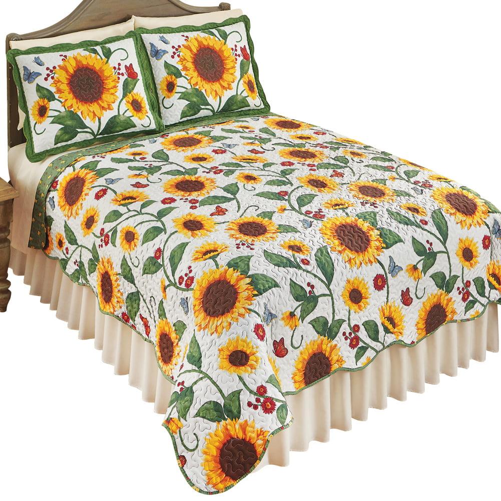 Reversible Sunflower & Butterflies Scalloped Edge Quilt Bedding Coverlet, Twin, Yellow Green