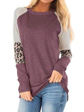 Women Crew Neck Long Sleeve Stripes Leopard Print Top