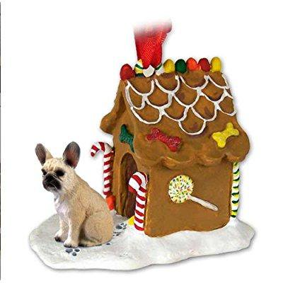 FRENCH BULLDOG Fawn Dog NEW Resin GINGERBREAD HOUSE Christmas Ornament 73B