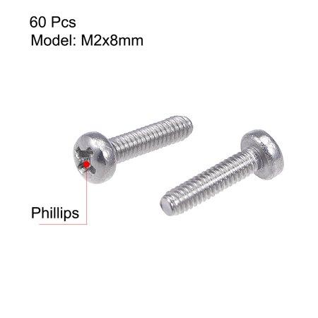 M2x8mm Machine Screws Pan Phillips Cross Head Screw Fasteners Bolts 60Pcs - image 2 of 3
