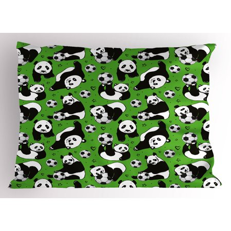 Soccer Pillow Sham Funny Panda Animals Playing with Balls Hand Drawn Style Hearts and Stars, Decorative Standard Size Printed Pillowcase, 26 X 20 Inches, Lime Green Black White, by Ambesonne (Panda Sheets)