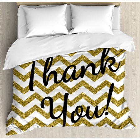 Modern Decor Queen Size Duvet Cover Set, Geometric Zig Zag Colored Little Stones like Stripes with Thank You Quote, Decorative 3 Piece Bedding Set with 2 Pillow Shams, Gold and White, by Ambesonne ()