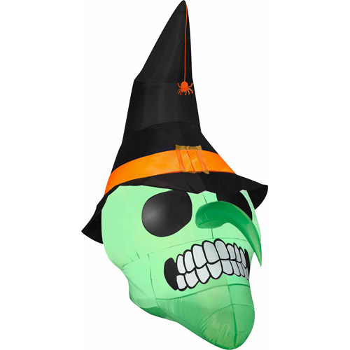6' Airblown Inflatables Green Witch Skull Halloween Decoration