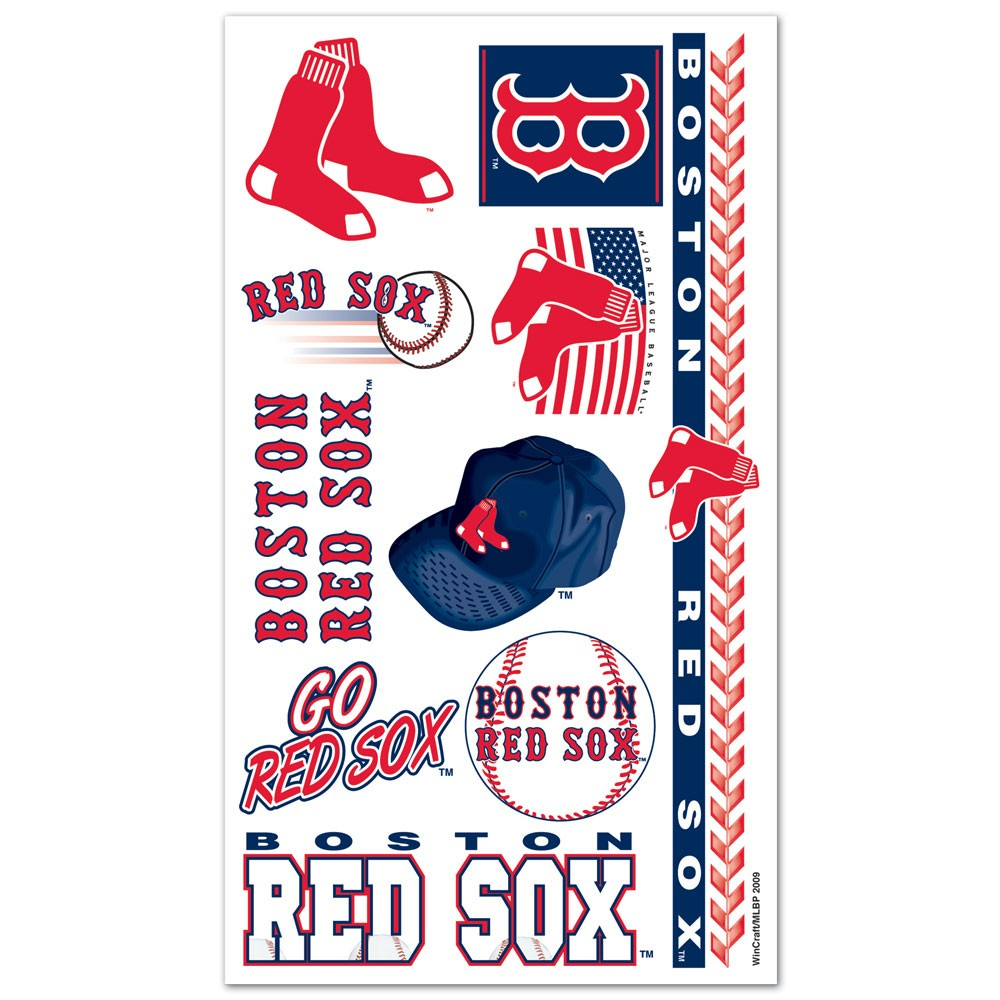 Boston Red Sox Official MLB 4 inch x 7 inch  Temporary Tattoos by Wincraft