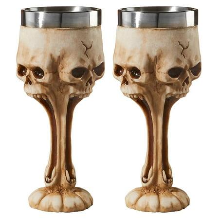 Americas Flag Design Goblet (Design Toscano Gothic Scare Skull Goblet: Set of Two )