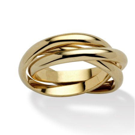 14k Yellow Gold-Plated Rolling Triple Band Crossover - Triple Band Puzzle Ring