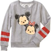 Minnie and Mickey Long Sleeve Crew Neck Varsity Sweater