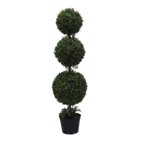 UV Boxwood Triple Ball Everyday Topiary with Pot - 4 ft. Boxwood Pieces 4' King