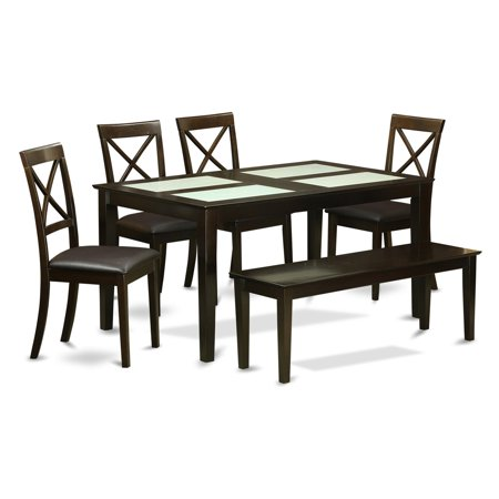 East West Furniture Capri 6 Piece Crossback Glass Top Dining Table Set