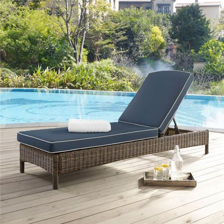 Bradenton Chaise Lounge With Navy Cushions ()