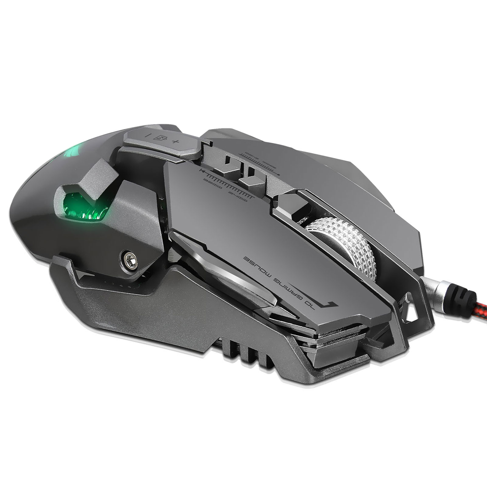 EEEKit Mechanical Gaming Mouse Wired, Comfortable Grip Optical Computer PC Gaming Mice, 4000 DPI, 12-Level Adjustable, ,7 Buttons, LED Variable Light Effect, Black