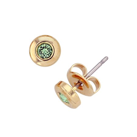 14KT Gold Plated Bezel Post Earring With Choice of Color Swarovski - Bezel Collection
