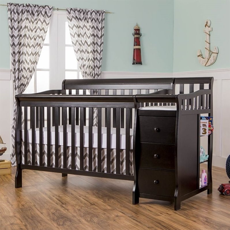 dream on me brody 4 in 1 fixed side convertible crib and changing table combo black. Black Bedroom Furniture Sets. Home Design Ideas