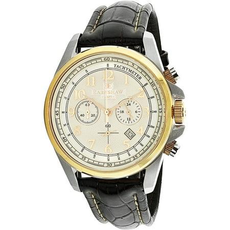 Thomas Earnshaw Mens Commodore Es 8028 09 Silver Leather Quartz Dress Watch