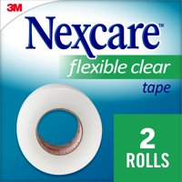 """Nexcare Flexible Clear First Aid Tape, Hypoallergenic, From the #1 Leader in U.S. Hospital Tapes, 1"""" x 10-yds, 2/Rolls"""