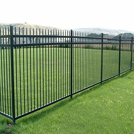 Aspen Style 3-Rail Steel Fence Kit, Powder-Coated Black (6.5