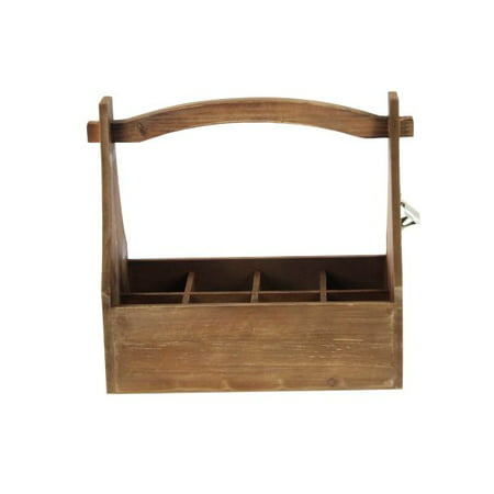 Decmode Farmhouse 15 X 16 Inch Stained Wood Wine Carrier With Bottle Opener, Brown