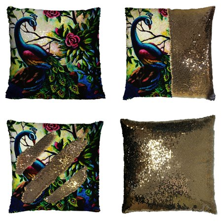 GCKG Artistic Paintings Graceful Peacock Reversible Mermaid Sequin Pillow Case Home Decor Cushion Cover 16x16 inches