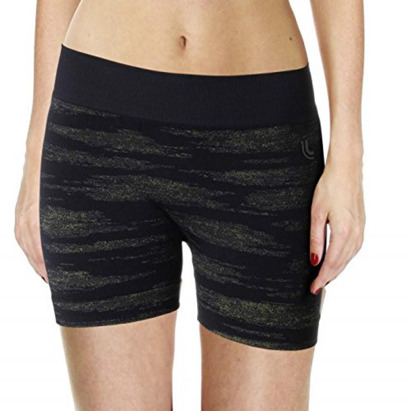 Lupo Women's Compression Workout Shorts, Small, Black